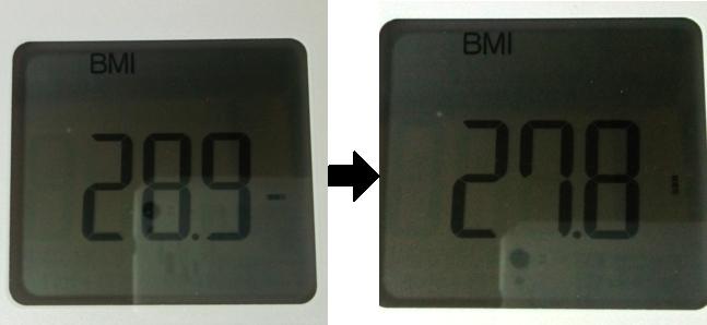 断食前と後のBMI測定値