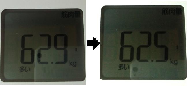 断食前と後の筋肉を比較