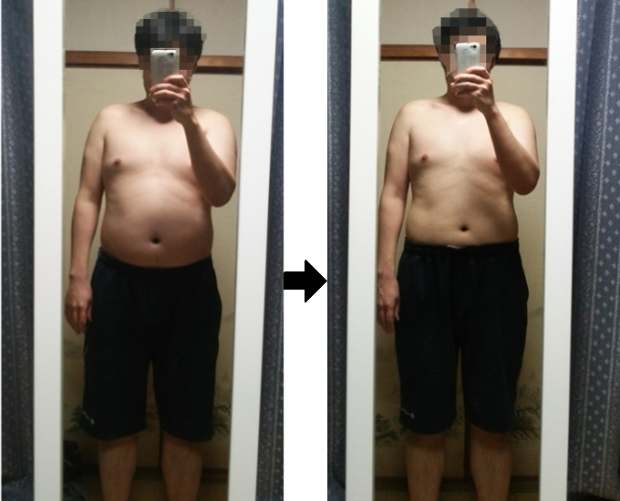 断食1週間後の体形を写真で比較(横腹)