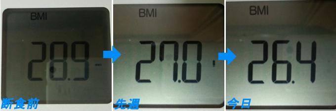 ダイエット2週間でのBMI推移