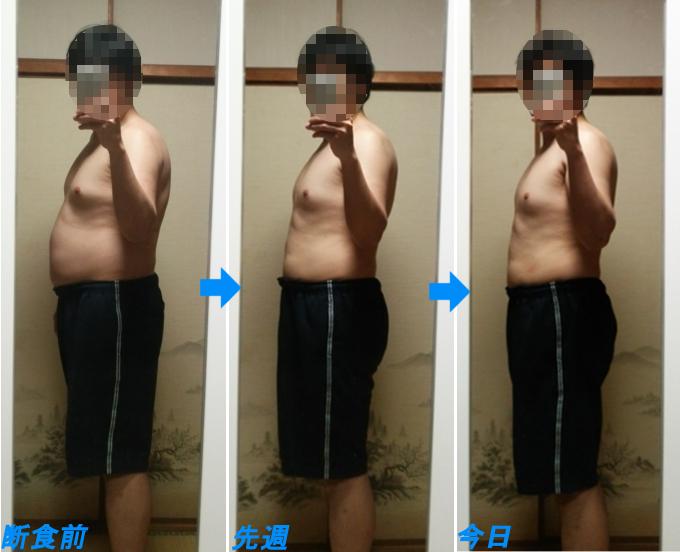 3週間ダイエットの見た目の推移(縦腹)