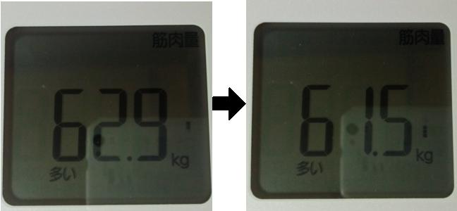 2日間断食前後の筋肉量比較