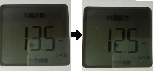 断食2日間での内臓脂肪の数値を比較